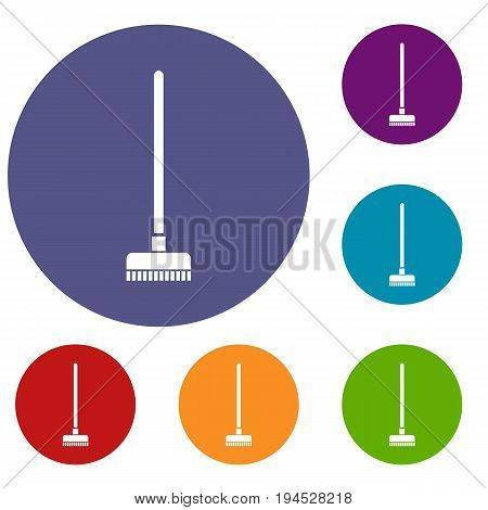 Brush for a floor icons set in flat circle reb, blue and green color for web