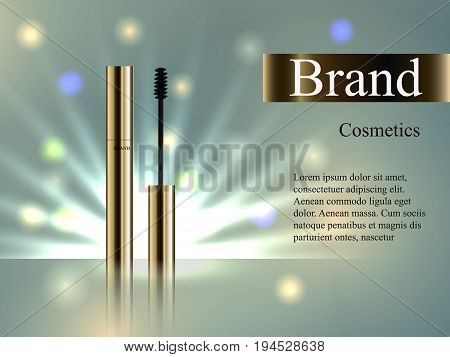 The Design Of Cosmetics, The Golden Mascara On The Delicate Background With Bright Beams Of Light An