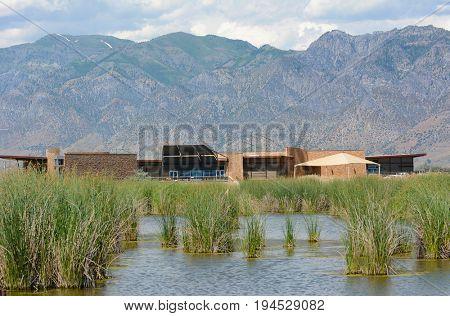 BRIGHAM CITY, UTAH - JUNE 28, 2017: Bear River Migratory Bird Refuge. The preserve is a 74,000-acre National Wildlife Refuge, near the Great Salt Lake, established in 1928.