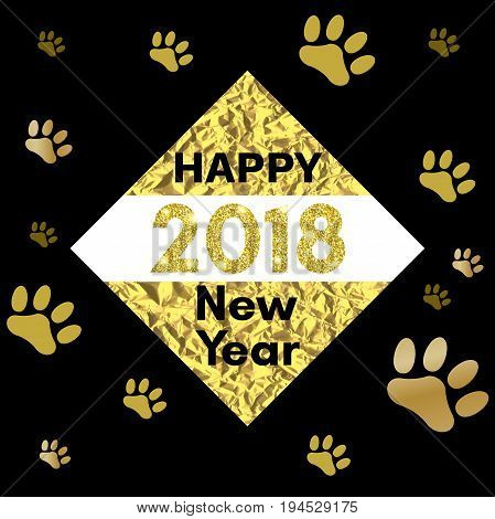 2018 chinese new year of yellow dog concept with golden vector paw track glitter geometric shapes and triangles template for calendar poster banner greeting card