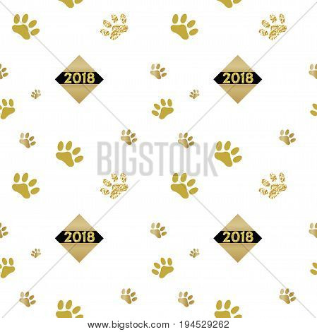 2018 chinese new year of yellow dog seamless pattern with golden vector paw track, glitter, foil texture, template for calendar, poster, banner, greeting card