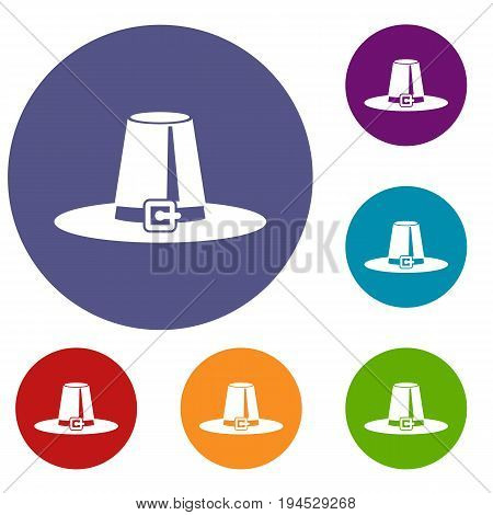 Pilgrim hat icons set in flat circle reb, blue and green color for web