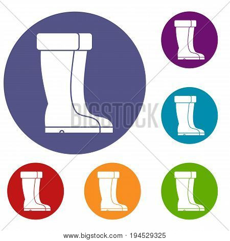 Winter shoes icons set in flat circle reb, blue and green color for web