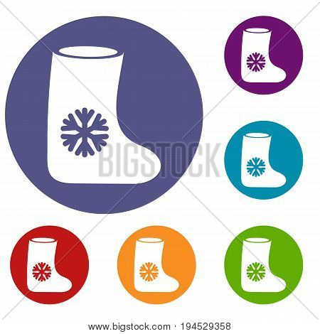 Felt boots icons set in flat circle reb, blue and green color for web