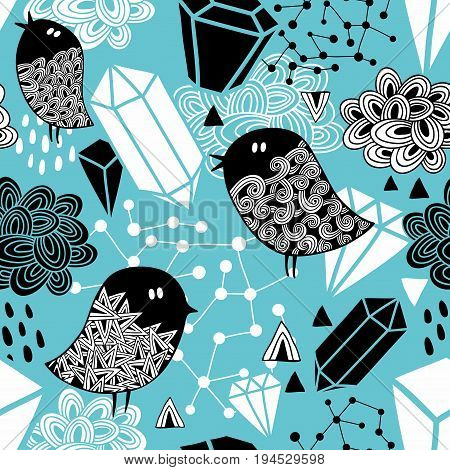 Seamless pattern with strange birds and design elements. Vector background in hand drawn style.