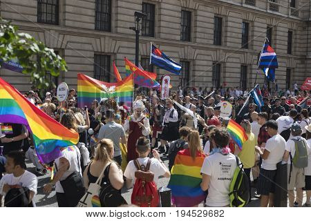 London United Kingdom - 8th of July 2017: Crowd gathering around the Gay Pride Parade for equal rights.