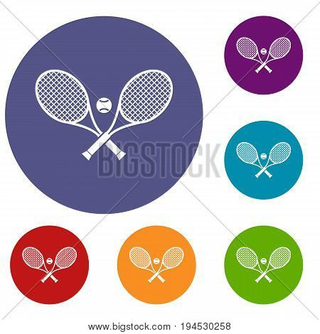 Crossed tennis rackets and ball icons set in flat circle reb, blue and green color for web