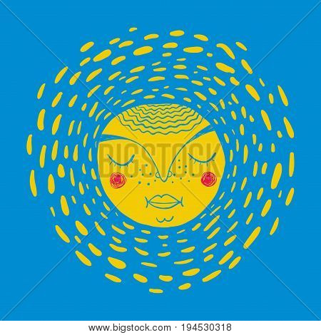 Colorful image of sleeping sun. Vector illustration with doodle face on the blue sky background.