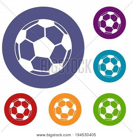 Soccer ball icons set in flat circle reb, blue and green color for web
