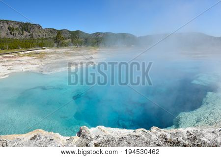 Sapphire Pool in the Biscuit Basin area of Yellowstone National Park, Wyoming.