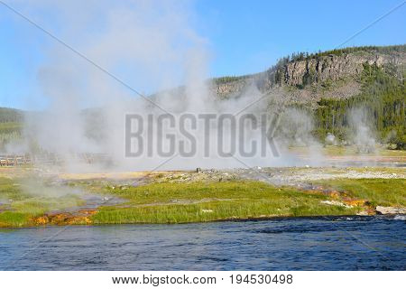 Firehole River at Midway Geyser Basin in Yellowstone National Park, Wyoming.