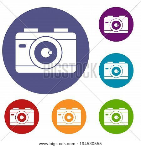 Photo camera icons set in flat circle reb, blue and green color for web