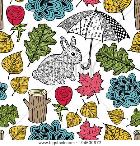 Creative colorful seamless pattern with cute rabbit and doodle umbrella. Vector illustration. Floral background with autumn leaves.
