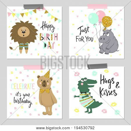 Happy birthday greeting cards and party invitation templates with cute animals.Vector illustration