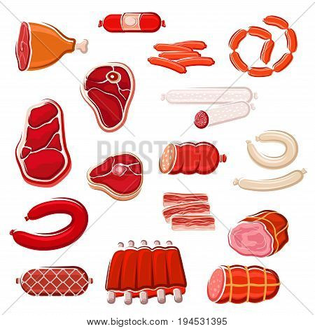 Fresh meat cut and sausage healthy food icon set. Beef steak, ham, bacon slice, pork ribs, salami, frankfurter, lamb roast and pepperoni sausage isolated symbol for meat store and butcher shop design