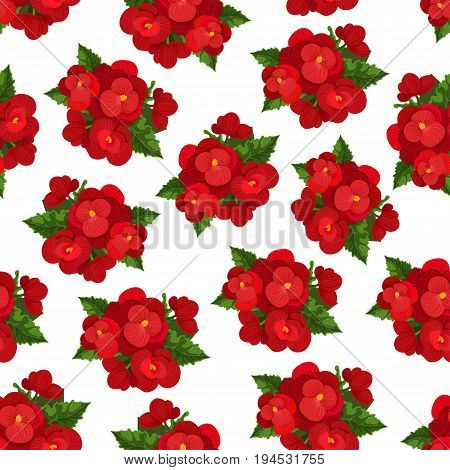 Red flower with leaf floral seamless pattern background. Blooming branches of begonia flowers with green leaf. Floral pattern for textile print, greeting card backdrop and wallpaper design