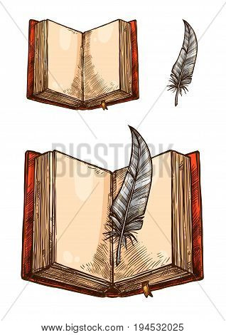Old book with empty page and feather pen isolated sketch. Open hardcover book with orange cover and yellow bookmark, quill pen with striped gray barbs for education and literature themes design