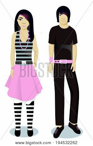 teenagers boy and girl in emo style vector