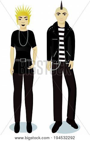 teenagers boy and girl in punk style vector