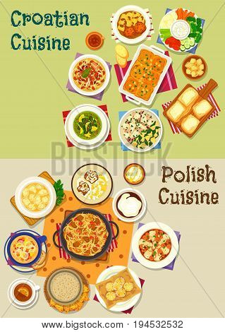 Polish and croatian cuisine icon set with meat and fish vegetable stew, bean sausage and spinach soup, meat dumpling, fresh vegetable with cream sauce, meatball in tomato, cake, donut, cheese strudel