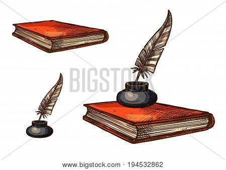 Book with feather pen and inkwell isolated sketch. Closed book with orange cover and vintage inkpot with gray quill pen for education and literature, history and poetry concept design