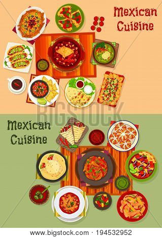 Mexican cuisine national dinner icon set. Meat taco, corn nacho with salsa and guacamole sauce, grilled chicken burrito and beef, vegetable bean salad and stew, chili chicken, tomato soup, sweet bread
