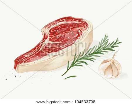 Fine cut raw beefsteak digital illustration watercolor effect
