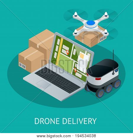 Isometric Drone Fast Delivery of goods in the city. Technological shipment innovation concept. Autonomous logistics