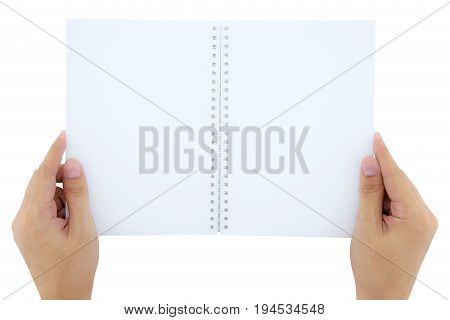 A Man(male) Two Hands Hold A Empty(blank) Book(note, Diary) Spread(unfold) Isolated White, Top View,