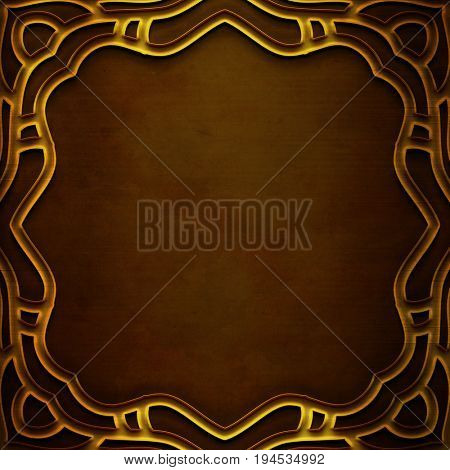 Gold Metal Plate with carved frame and pattern in classic style