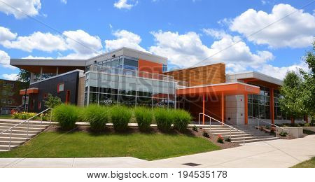 BOWLING GREEN OH - JUNE 25: The dining hall at Bowling Green State University in Bowling Green Ohio is shown on June 25 2017.