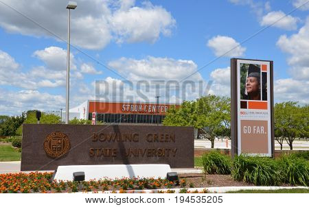BOWLING GREEN OH - JUNE 25: The sign next to the Stroh Center arena at Bowling Green State University in Bowling Green Ohio is shown on June 25 2017.