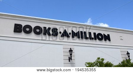 PERRYSBURG OH - JUN 25: A Books-A-Million store logo in Perrysburg OH is shown here on June 25 2017. There are 260 Books-A-Million stores.