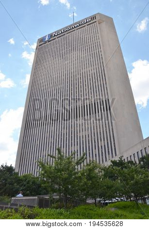 COLUMBUS OH - JUN 28: The Nationwide building in Columbus OH is shown here on June 28 2017. It donated more than $400 million to nonprofit organizations since 2000.