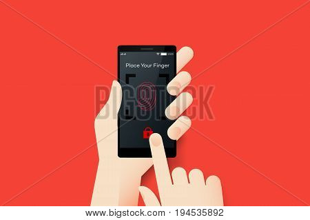 Hand Holding Smartphone With Conceptual Locked Fingerprint Recognition Mobile Application Interface. Material Design Vector Illustration.