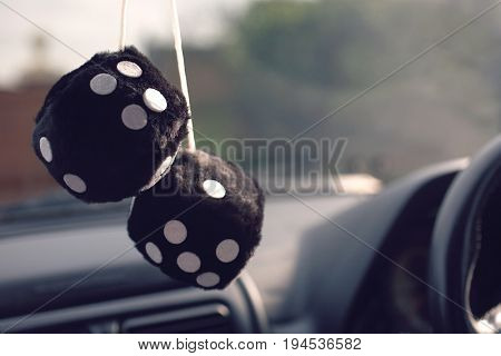 Furry dice hanging in car