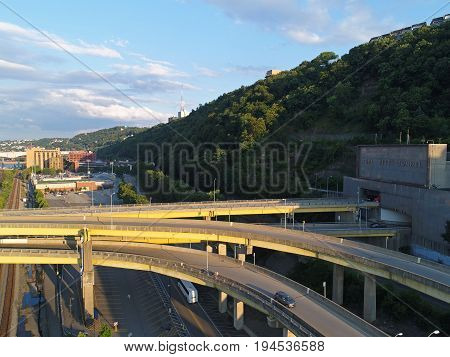 Fort Pitt Tunnel exit and entrance on downtown Pittsburgh side