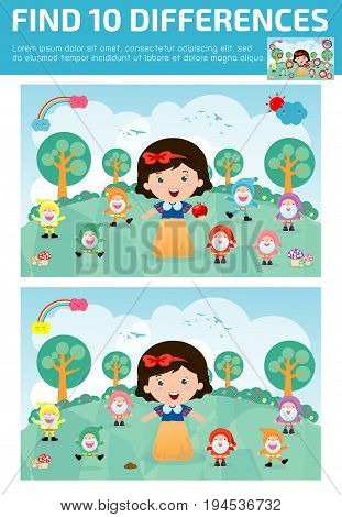 find differences,Game for kids ,find differences,Brain games, children game, Educational Game for Preschool Children, Vector Illustration, snow white and the seven dwarfs