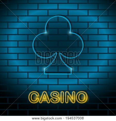 Neon card suit Vector illustration Neon lamp for casino in the form of clubs card suit on a brick wall Lamp in form of clubs card with blue lighting