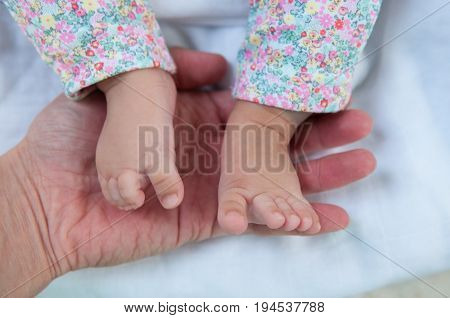 A new father holds his newborn infant baby's feet for the first time. Parent holding newborns foot. Hand in hand. Parenthood. Motherhood. Fatherhood. Family.