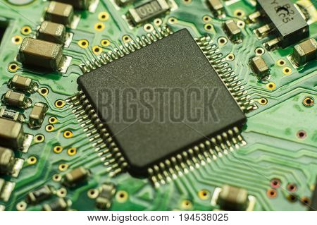 Computer board chip. Electronic circuit board closeup