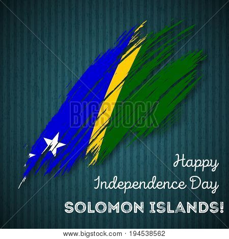 Solomon Islands Independence Day Patriotic Design. Expressive Brush Stroke In National Flag Colors O
