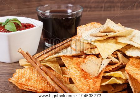 Unhealthy Food, Sauce With Basil And Cola On Rustic Wooden Board