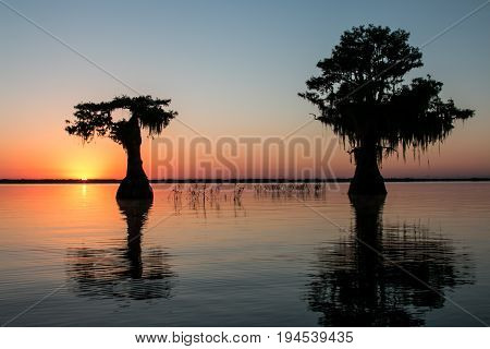 Sunrise over Blue Cypress Lake near Vero Beach, Florida.