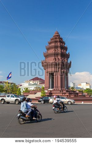 Phnom Penh, Cambodia - March 28, 2017: Independence Monument (Vimean Ekareach) in Phnom Penh, Cambodia