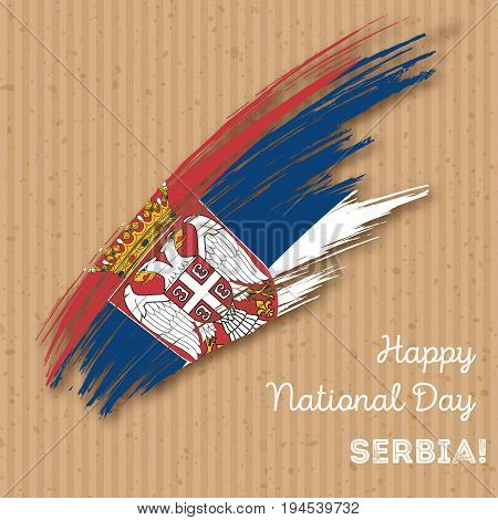 Serbia Independence Day Patriotic Design. Expressive Brush Stroke In National Flag Colors On Kraft P