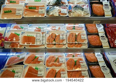 SEOUL, SOUTH KOREA - CIRCA MAY, 2017: fish on display at Lotte Mart in Seoul. Lotte Mart is an east Asian hypermarket that sells a variety of groceries, clothing, toys, electronics, and other goods.