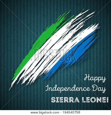 Sierra Leone Independence Day Patriotic Design. Expressive Brush Stroke In National Flag Colors On D