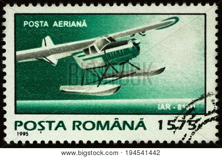 Moscow Russia - July 07 2017: A stamp printed in Romania shows old seaplane IAR series