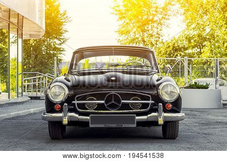 Novosibirsk Russia - June 16 2017: Mercedes-Benz 190 sl front view. Photography of a classic car on a street in Novosibirsk